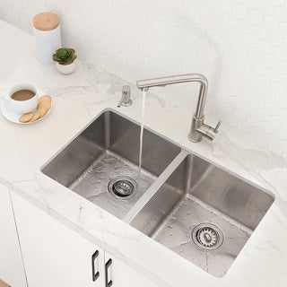 "Link to 31""L x 18""W Stainless Steel Double Basin Undermount Kitchen Sink with Strainers Similar Items in Sinks"