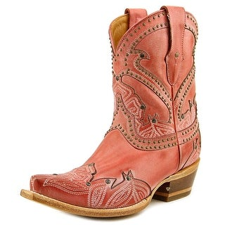 Lucchese Stitched Petal Short Pointed Toe Leather Western Boot