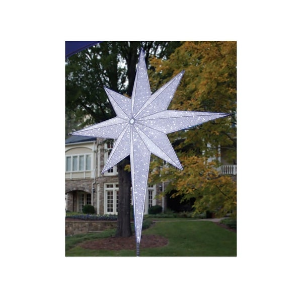 """48"""" LED Lighted White and Silver Moravian Star Commercial Christmas Tree Topper Decoration"""