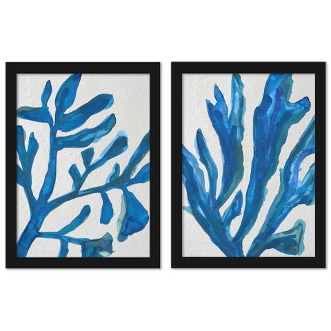 Blue Watercolor Seaweed Painitng by Jetty Printables - 2 Piece Black Framed Print Set
