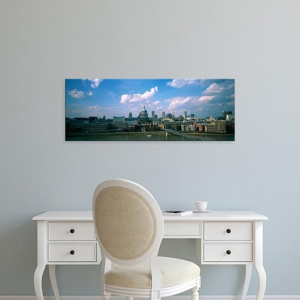 Easy Art Prints Panoramic Images's 'Buildings on the waterfront, St. Paul's Cathedral, London, England' Canvas Art