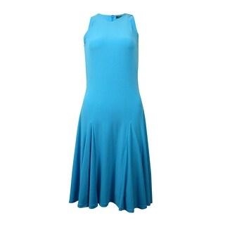 Lauren Ralph Lauren Women's Sleeveless Halter Jersey Dress - turquoise ocean