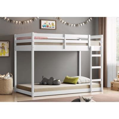 Themes and Rooms Twin Over Twin Solid Wood Low Loft Bunk Bed