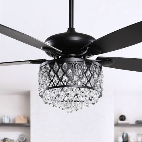 52-in Black 4-Light Crystal 5-Blade Ceiling Fan with Remote - 52-inch