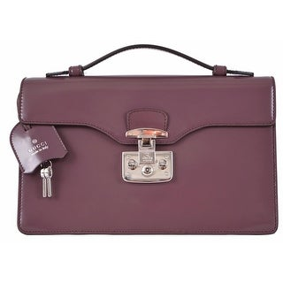 Gucci 331823 Plum Purple Leather SMALL Lady Lock Structured Purse Bag
