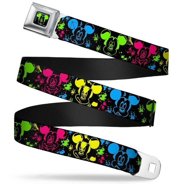 Mickey Mouse Expression1 Full Color Black Neon Green Mickey Expressions Seatbelt Belt