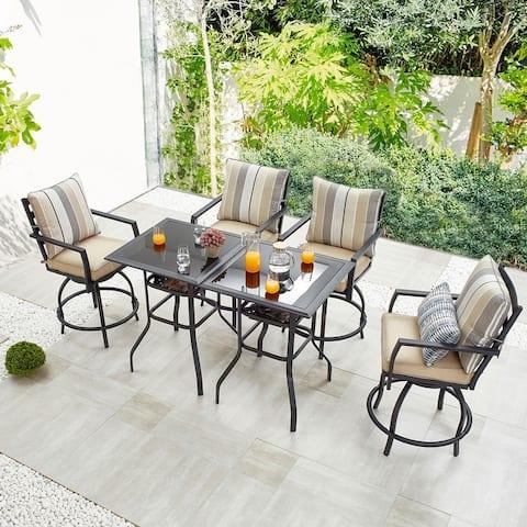 6-Piece Outdoor Swivel Bar Chair Set