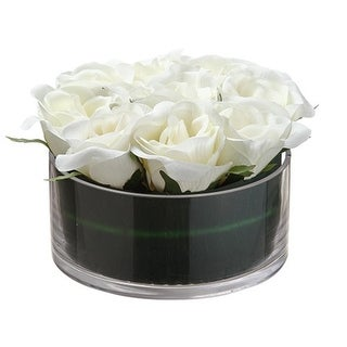 """5.25"""" Decorative Ivory Rose Artificial Spring Floral Bouquet in Round Glass Vase - White"""