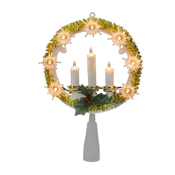 "Santa Hat Christmas Tree Topper: Shop 8"" Lighted Gold Tinsel Wreath With Candles Christmas"