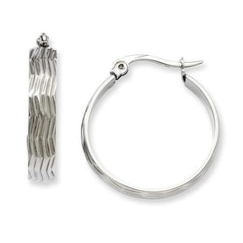 Stainless Steel Textured Hoop Earrings