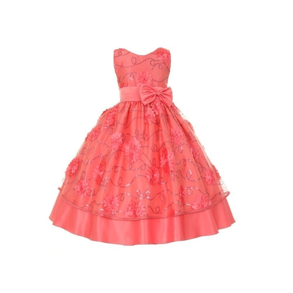 Baby Girls Coral Floral Pattern Neckband Easter Flower Girl Bubble Dress 3-24M