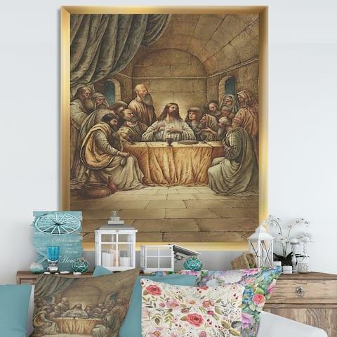 Designart 'The Last Supper of Jesus' Traditional Framed Art Print