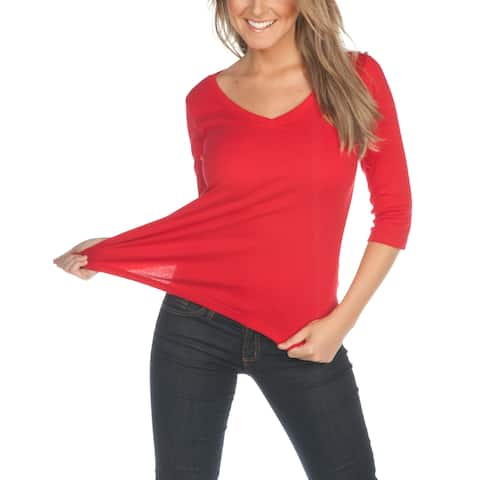 Kavio! Women V Neck 3/4 Sleeve Top