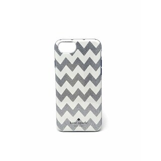 Kate Spade New York Protective Case for iPhone 7 and iPhone 8 - Chevron Glitter / Silver Navy