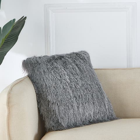 "Polyester Faux Fur Pillow, 14"" x 14"""