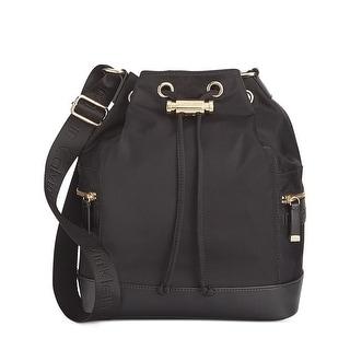 Calvin Klein Womens Nylon Drawstring Bucket Bag Black