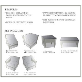 Miseno MPF-MHTN12AWC NYC 12-Piece Canvas Winter Cover for the MPF-MHTN12A Outdoor Conversation Set - beige