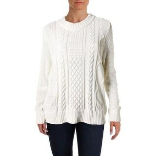 Love Scarlett Womens Mock Turtleneck Sweater Metallic Cable Knit (Option: M)