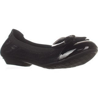 KS35 Roza Bow Detail Ballet Flats, Black