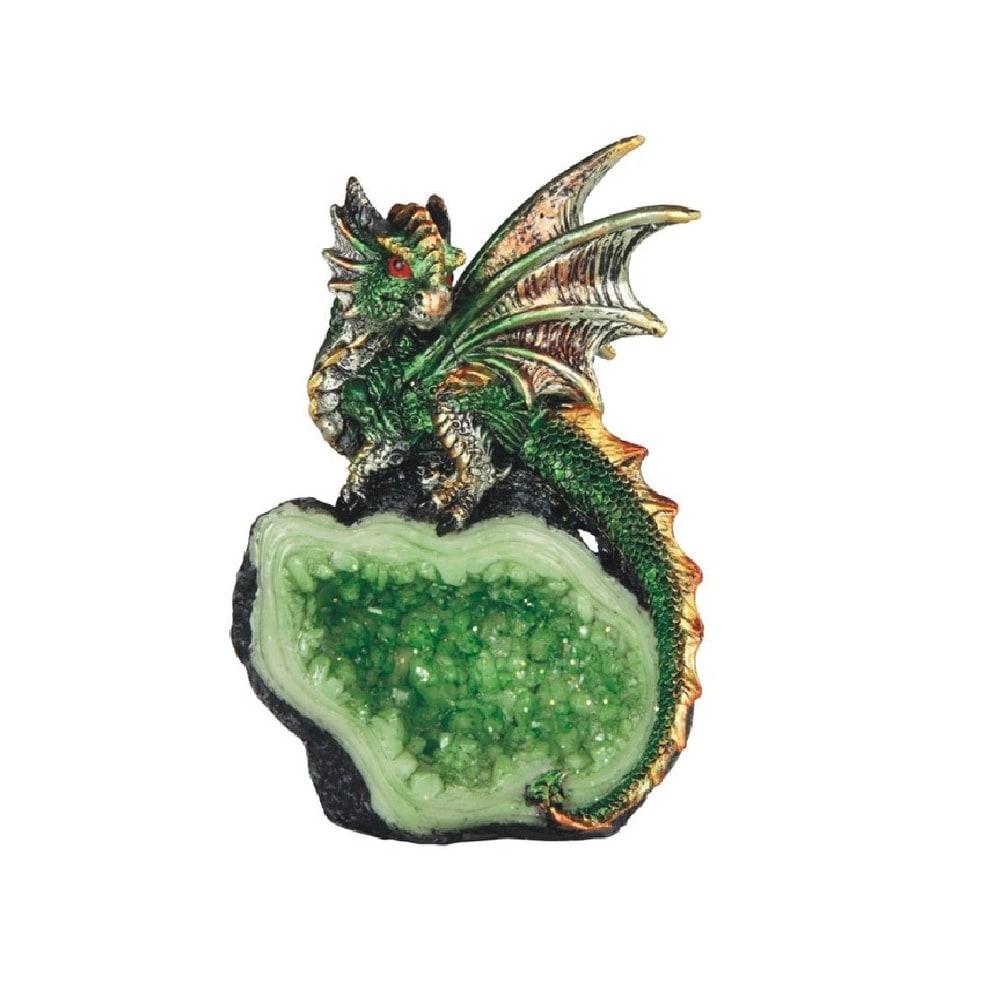 Q Max 4 H Green Dragon On Green Crystal Stone Statue Fantasy Decoration Figurine Overstock 32409292