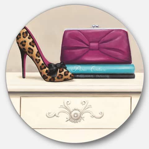 Designart 'Fashion & Glam Avenue high heels I' Glam Metal Circle Wall Art