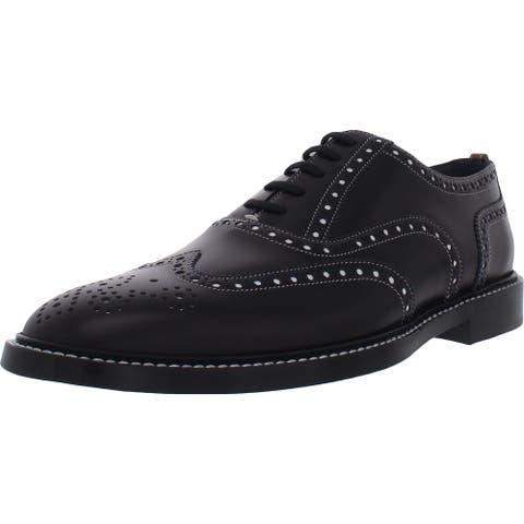 Burberry London Mens Lennard Wingtip Shoes Leather Oxford - Black