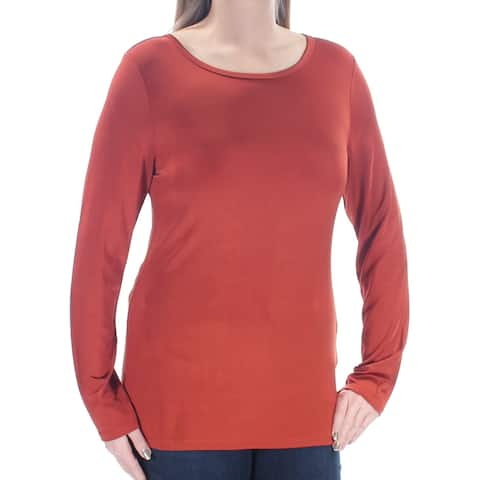 DKNY Womens Brown Long Sleeve Jewel Neck Top Size: XS