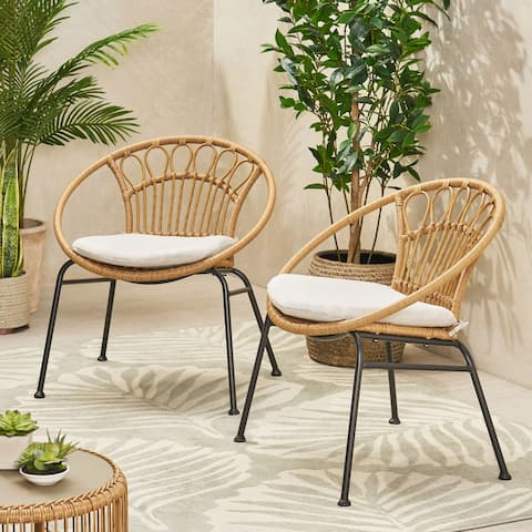 Banya Outdoor Faux Wicker Chairs (Set of 2) by Christopher Knight Home