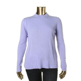 Karen Scott Womens Cable Knit Ribbed Trim Pullover Sweater