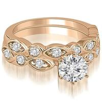 1.15 cttw. 14K Rose Gold Antique Round Cut Diamond Bridal Set