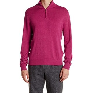 David Donahue NEW Pink Berry Mens Size Medium M 1/2 Zip Silk Solid Sweater