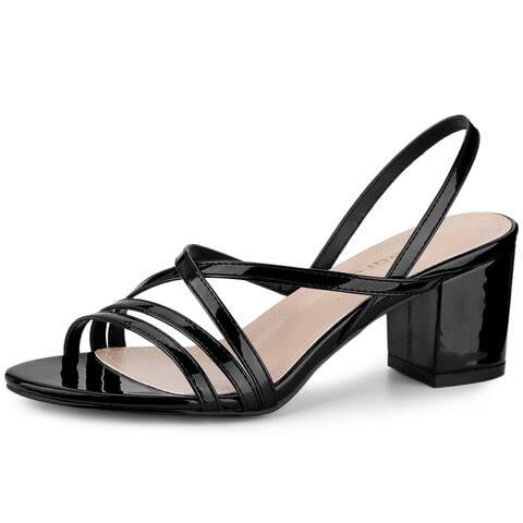 Allegra K Women's Strappy Slingback Chunky Heels Sandals