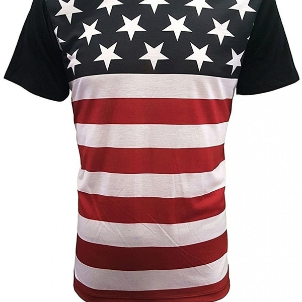 b639d16abf7d1 Men's Fashion Print Tee Shirt Short Sleeve American Flag Print - Black