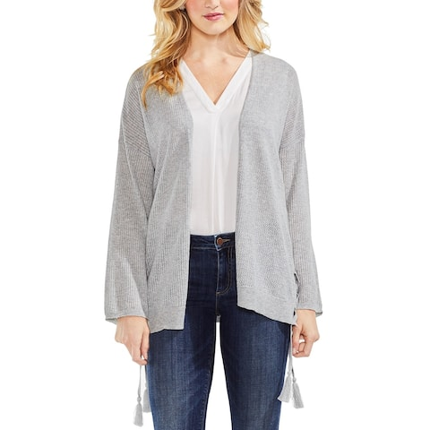Vince Camuto Womens Small Ribbed Lace Up Cotton Cardigan
