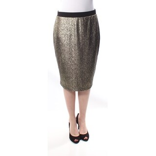 NY COLLECTION Womens New 1158 Gold Speckle A-Line Tea-Length Skirt M B+B