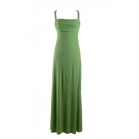 JS Boutique Draped Front Dress With Beaded Straps, Green, 10
