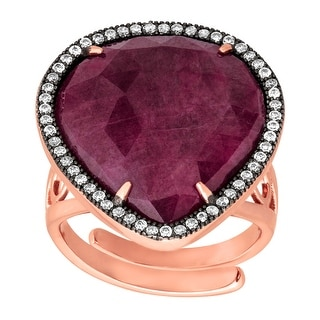 Natural Ruby & Cubic Zirconia Ring in 18K Rose Gold-Plated Sterling Silver - Red