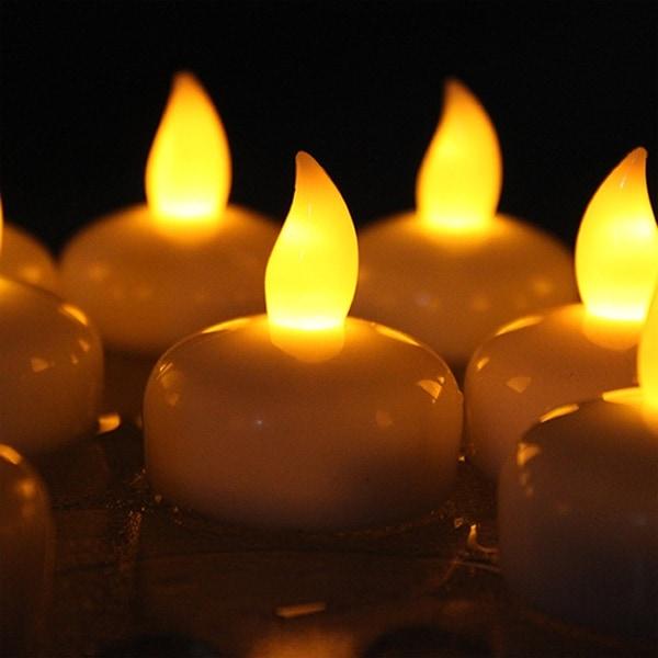 Image 12x Flameless LED Tea Light Candles Flickering Flashing Waterproof Yellow