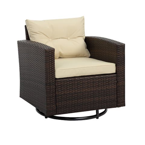 Outdoor Wicker Swivel Chair, Multiple Colors