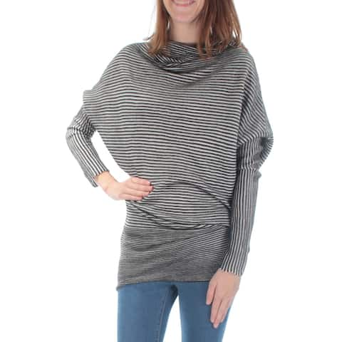 KIIND OF Womens Black Striped Dolman Sleeve Cowl Neck Top Size XS