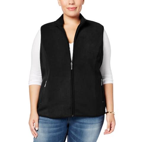 Karen Scott Womens Sweater Black Size 1X Plus Vest Fleece Full-Zip