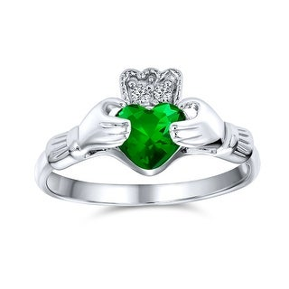 Link to BFF Celtic CZ Imitation Gemstone Heart Claddagh Ring Sterling Silver Similar Items in Rings