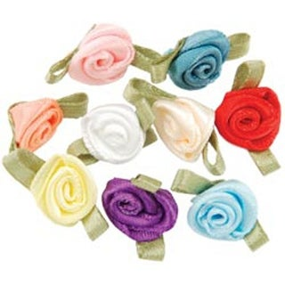 Ribbon Roses-Small 40/Pkg-Multi Colors
