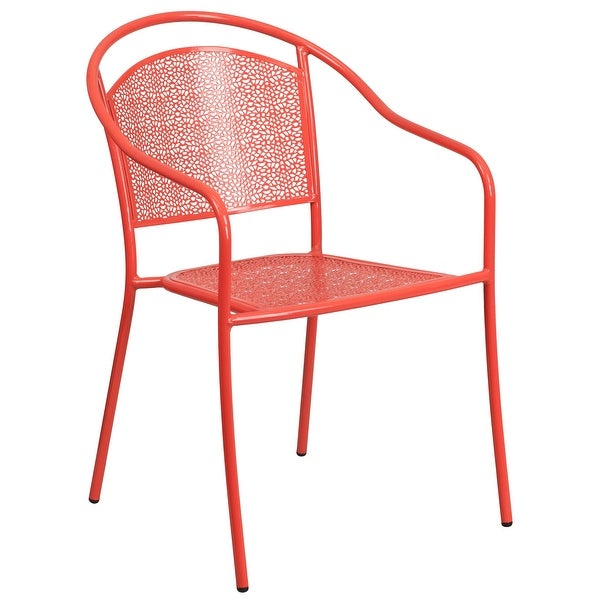 Indoor-Outdoor Steel Patio Arm Chair with Round Back. Opens flyout.
