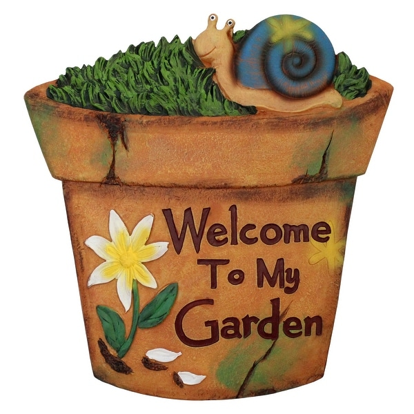 """10.5"""" Brown Flower Pot Outdoor Garden Stepping Stone with Snail - N/A"""