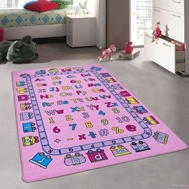 """Pink Kids / Baby Room Area Rug. Learn ABC / Alphabet Letters Numbers with a Train Bright Colorful Colors (4' 11"""" x 6' 11"""")"""