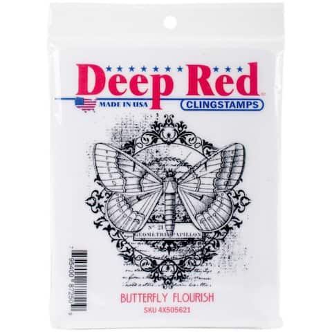 Deep Red Stamps Butterfly Flourish Rubber Cling Stamp - 3 x 3.1