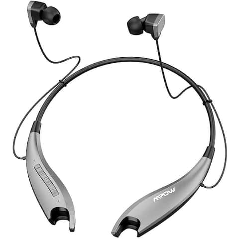 Mpow Jaws Gen5 Bluetooth Wireless Neckband Headphones, Online Conference, Bluetooth Headset CVC6.0 Noise Cancelling Mic, Gray