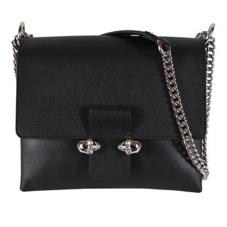 Alexander Mcqueen 439450 Black Leather Double Skull Purse Handbag