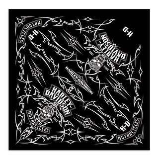"Harley-Davidson Men's Pinstripe Skull Bandana - Black, 24 x 24 inch BA26830 - 24"" x 24"""